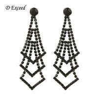 Wholesale Big Vintage Earrings for Women Bijoux Boho Brinco Earings Dangle Chandelier Silver Plated Black Diamond Crystal Drop Earring ER152522