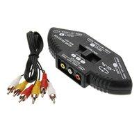Acheter Av splitter audio vidéo-3 Way Port Audio Vidéo AV RCA Noir Switch Box Splitter Converter Adaptateur pour Nintendo Wii TV DVD 3 Port en 1 Out