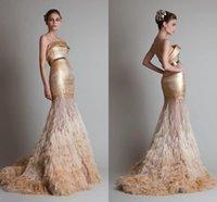 Cheap Elegant Elie saab Formal Dresses Evening Strapless Backless Sweep Train Gold Sash Feather Bead Prom Dresses 2015 Custom Made BG50365