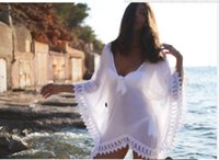 Wholesale Sexy Crocheted Dresses - 2016 Free Shipping Sheer Swimwear Bathing Suit Cover Up Sexy Crochet White Pareo Beach Dress Summer Bikini Swimsuit Cover Up OXL070306