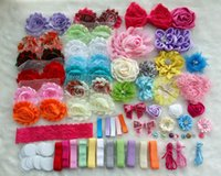 baby shower gift sets - Deluxe DIY accessories kits set Baby Shower Headband CLIPS shabby flowers Rose hair bow Trim Birthday christmas day gift F