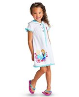 cotton nightgown - New frozen children sleepwear anna elsa cotton bathrobe leisurewear girl nightgown
