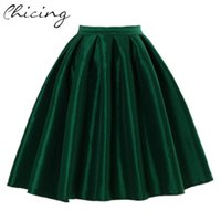 Cheap Plus Size XXL Vintage Women Skirt Fashion 2015 Winter Spring High Waist Ball Gown Pleated Midi Ladies Skirt With Pocket JM7010