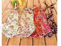 Wholesale 2015 new baby Flower Romper printed floral ruffled backless Romper girl rompers infant sleeveless girls clothes baby s JumpSuit jumper