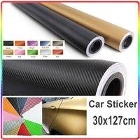 Wholesale 3D Black Carbon fiber vinyl Wrap Car Wrapping Film Carbon Fibre Sheets With Air Drain Top quality CM
