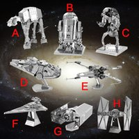 Wholesale Star Wars D Metal Puzzle Assemble DIY Tie X wing Fighter Millennium Falcon Model Toys Gift for Children