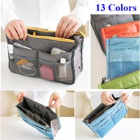 Wholesale 12 Colors Fashion Storage Bag Women Cosmetic Bags Travel Insert Handbag Purse Large Liner Organizer Bags Cosmetic Storage Bags