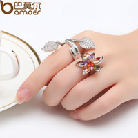 Wholesale BAMOER Trendy Design Finger Ring for Women Flower Shape with Colorful CZ Double Ring Suit for Finger of Size YIR034