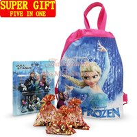 Wholesale New Christmas New Year Gifts Lovely Pink Pig Frozen Elsa Cartoon Stand Dolls Kids Bags D Keychains Magnets Stickers Five in One Super Gifts