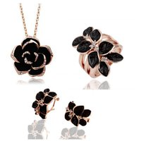 Wholesale Fashion Trend Female Rose Flower Necklace Earrings Rings Sets kgp High Grade Jewelry Sets Women Bride Jewelry Sets