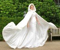 hooded cloak - 2015 Winter Faux Fur Cloaks Hooded Wedding Wraps White Floor Length Fur Bridal Overcoats Warm For Winter