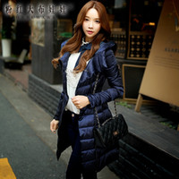 Wholesale Dabuwawa Women s Elegant Navy Blue Warm Bodycon Waist Tight Long Down Coat with Cap
