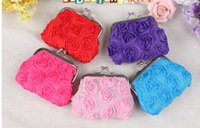 Wholesale New fashion lace flowers hasp Coin purse women wallet burse mix color