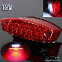 Wholesale New Universal V LED Motorcycle Tail Brake Vehicle Red LED Light License Plate Lamp White Light