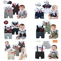Wholesale 2015 Baby Boys Summer Tie Gentleman Romper Newborn One piece Bodysuits Kids Cartoon T shirt Romper Infant Romper Children Clothes FS GD25
