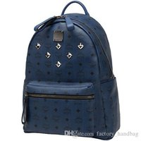 mcm bag - 1 Top Quality korean mcm leather backpack for Men Women sports backpack bags Punk Rivets Mcm backpacks Middle Small large Size for choice