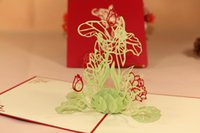 Wholesale 3D Greeting Card Handmade Lotus Creative Kirigami Origami D Pop UP Travelling Greeting Gift Cards thank you cards