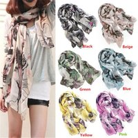 Wholesale New Arrivals Ladies Shawls Wraps Begonia Flower Ink Style Shawl Scarf Long Stole FX174