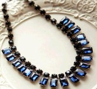 Wholesale beautiful necklaces Ms Short sapphire rhinestone necklace F128
