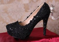 adhesives companies - New Arrival Black Lace Pearl Dress Party Shoes High heeled Company Annual Meeting Shoes Red Carpet Show Shoes