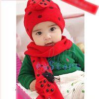 Wholesale Lovely funny winter hat Infant Boys Girls Child Ladybug Warm Winter Beanie Hat Cap Scarf in Set