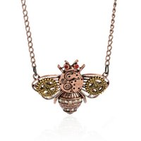 bee jewlery - Cute Little Bee Pendant Necklaces Vintage Bronze Chain Steampunk Gear Jewelry Mens Womens Fashion Jewlery Chirstmas Perfect Gifts K920