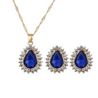Wholesale Luxuories Necklace Earrings Set Fashion Crystal Rhinestone Jewelry Set Waterdrop Necklace Stud Earrings Jewelry Sets for Women