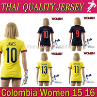 colombia - New stock colombia Women soccer jersey home yellow JAMES FALCAO soccer jerseys away Colombian girl soccer shirt futbol