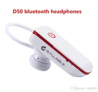 Wholesale Syllable D50 bluetooth headphones mini stereo sport earphone ear hook headohones car bluetooth headsets with free usb cable car charger