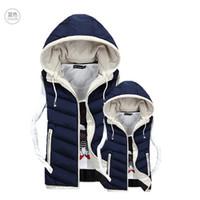 Wholesale Fall Lover Vest Men Winter Coat Plus Velvet Mens Vest Male Hooded Vests Men Women Cotton Padded Sleeveless Jacket Man Waistcoat