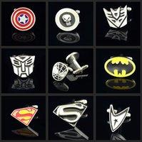Wholesale Superhero Cufflinks Batman Superman Green Lantern The Flash Action DC Comics Superhero Justice League Silver Yellow Black Red Men s Shirt
