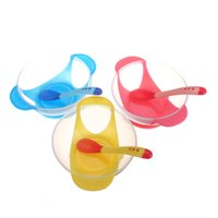 Wholesale New Baby Kid Feed Suction Bowl With Spoon Set Kitchen Temperature Colour Changing Feeding Tableware Sets Color To Choose