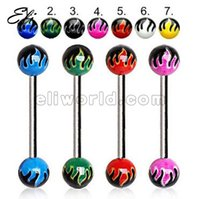 Wholesale Hot Fire Pattern Logo Acrylic Ball Tongue Ring Barbell Piercing