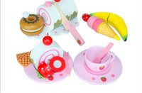 Wholesale Play Food Toy Set Sooktops Learning Toys Kitchen Cooking Pretend Toy Teatime Snack Play Set Food Beverages Kids XMAS Gift