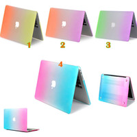 Wholesale Rainbow Metal texture Skin Hard Plastic Full Protective cover case For Macbook Mac book Air Pro Retina