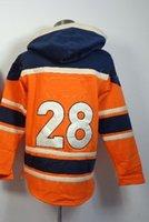 Ice Hockey moisture balls - Broncos Montee Ball Orange Pullover Hooded Sweatshirt Hockey Hoodies Lace Up Winter Outdoor Sportswear Warm Hooded Drop Shipping