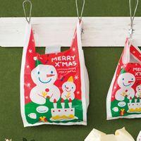 Wholesale size cm quot quot Christmas Shopping plastic Bag with handle The Snowman picture bag