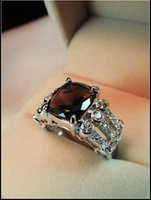 Cheap High-end custom high-end 925 sterling silver jewelry solitary natural smoky quartz citrine gemstone big ring finger