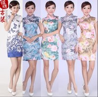 Wholesale 2016 summer fashion vintage cheongsam dress daily short paragraph Slim Ethnic Chinese Butterfly Colors Sizes