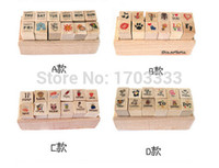 Wholesale DHL Free ets New Creative Cartoon pattern Wooden Diary Stamp Set DIY Stamp Decorative DIY funny Work Diary Stamp DD388