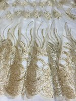 french lace - High grade beige gold flower embroidery African tulle mesh lace fabric French net material for dress QN27