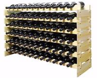 Precio de Bastidores de almacenamiento de vino-72 Botellas Apilables Display de Vino Rack de almacenamiento Pino de madera alternativa a bodega