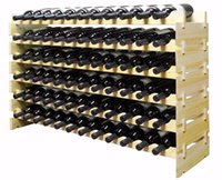Wholesale 72 Bottles Stackable Wine Display Storage Rack Pine Wood Alternative to Cellar