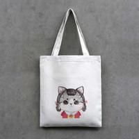 sac de toile de chat ou de fille modèles Imprimer commerciaux shopper longueur sac fourre-tout de support à glissière sac de 55cm noir / blanc