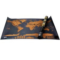 Wholesale Creative Gift Scratch World Travel Map Deluxe Edition Vintage Retro Decorative Poster Geography Teaching Fun Toy Best Christmas Child gift