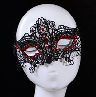 Wholesale New Masquerade Halloween Christmas Exquisite Lace Inlaid Rhinestones Half Face Mask For Lady Party Mask Party Supplies PMS130