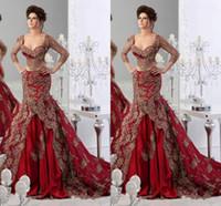 Cheap Fabulous Arabic Kaftan Appliques Lace Two Pieces Evening Dresses By Abaya Dubai Long Sexy V Neck Mermaid Wine Red Luxury Wedding Dresses HDY