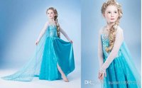 Wholesale Free shpping girls elsa costumes halloween fantasy dress costumes frozen princess costumes for kids wholsa