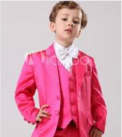 Wholesale Fashion boys suits Two Buttons Boy Tuxedos Notch Lapel Children Suit Hot Pink Kid Wedding Prom Suits Jacket Pants Tie Vest