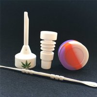 ceramic jar - Bongs Tool Set with Ceramic Carb Cap mm mm Male joint Ceramic Nail Dabber Tool Slicone Jar Dab Container A Whole